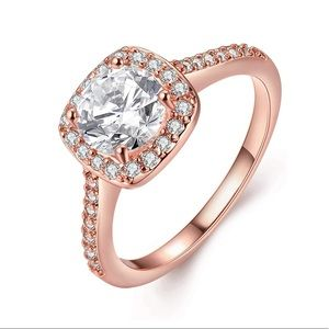 Rose Gold Plated Princess Cut Engagement Ring
